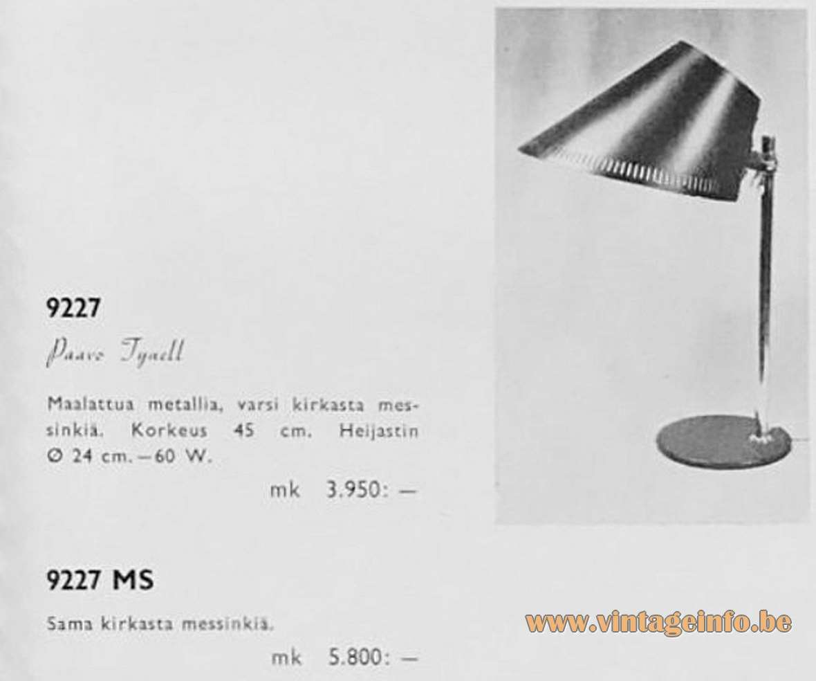 Paavo Tynell Taito Idman 9227 and 9227 MS desk lamp in the 1958 catalogue brass table lamp