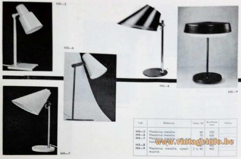 Paavo Tynell Taito Idman 9227 - H5-8 desk lamp catalogue 1964 1960s E27 socket Mid-Century Modern