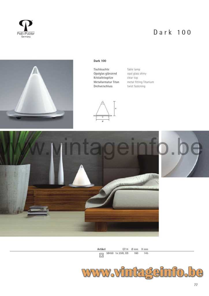 Peill + Putzler Dark 100 Table Lamp - 2014 Catalogue Picture