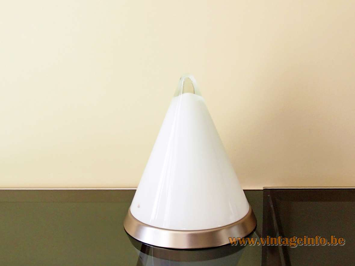 Peill + Putzler Kibo pyramid type table lamp opal clear conical glass chrome base 1980s Germany