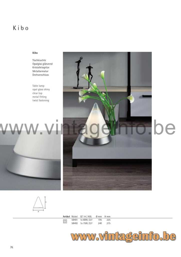 Peill + Putzler Kibo Table Lamp - 2014 Catalogue Picture