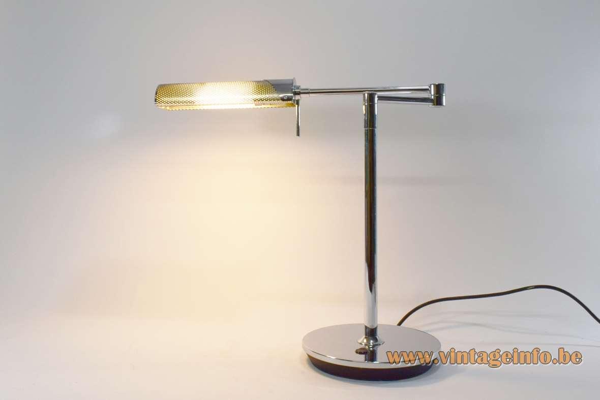 Peters Design Fingo desk lamp round base pivoting rods chromed metal 1990s PL-C 13W fluorescence Germany