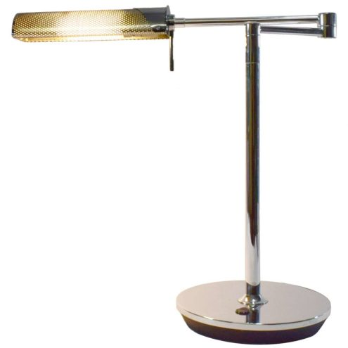 Peters Design Fingo desk lamp round base pivoting rods chromed metal 1990s PL-C 13W fluorescence Germany