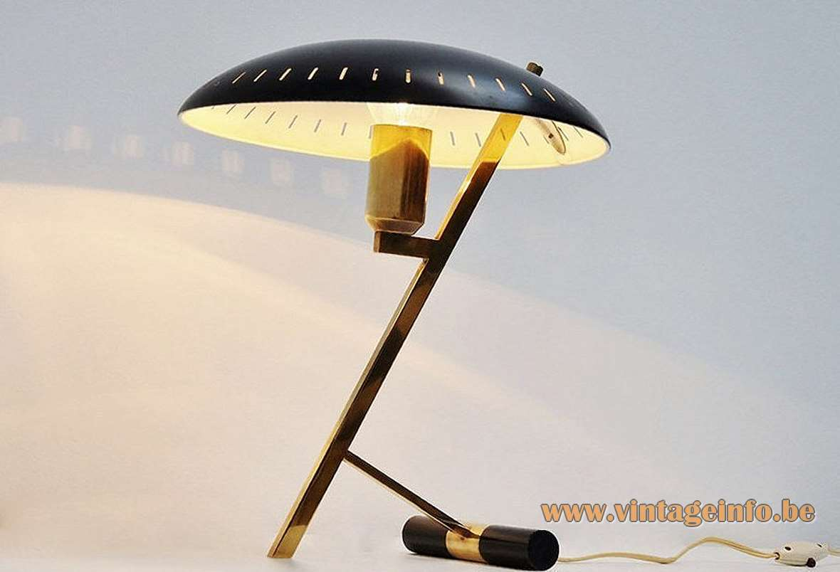 Philips Decora desk lamp design: Louis Kalff 1956 Z-lamp brass slats perforated UFO lampshade 1950s 1960s