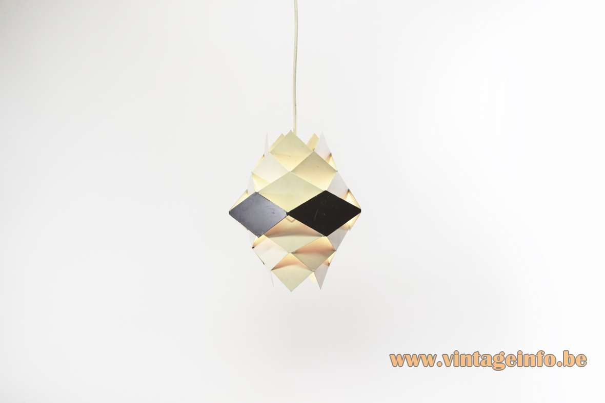 Preben Dal Symfoni Pendant Lamp white and grey metal diamonds HF Belysning A/S Denmark 1960s MCM