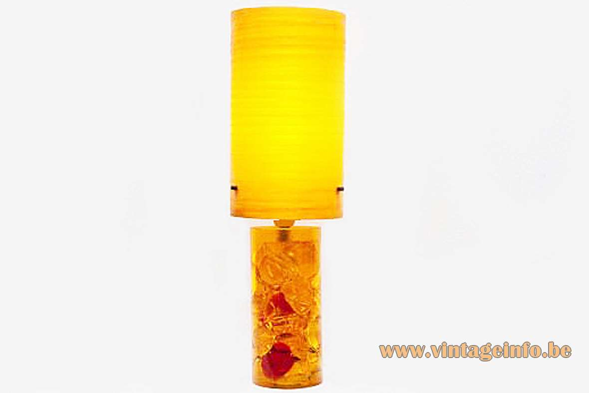 Prova Shatterline table lamp fractal resin yellow orange red crackle ice 1970s fibreglass lampshade MCM