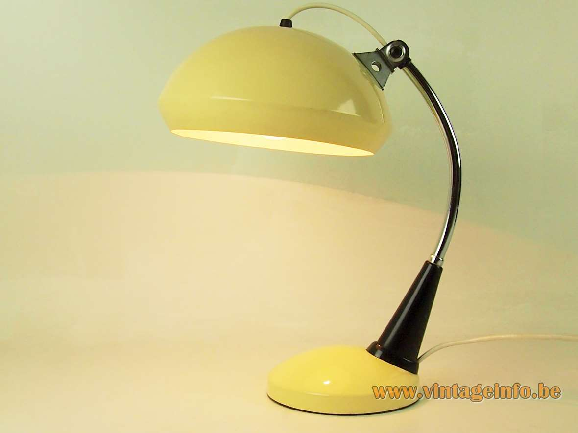 VEB Leuchtenbau desk lamp round metal yellow base and lampshade curved chrome rod 1970s 1980s MCM