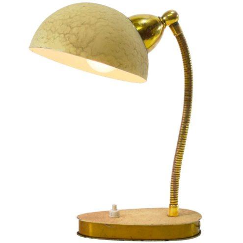 1950s cream wrinkle paint desk lamp metal oval base brass gooseneck round lampshade Massive Belgium 1960s