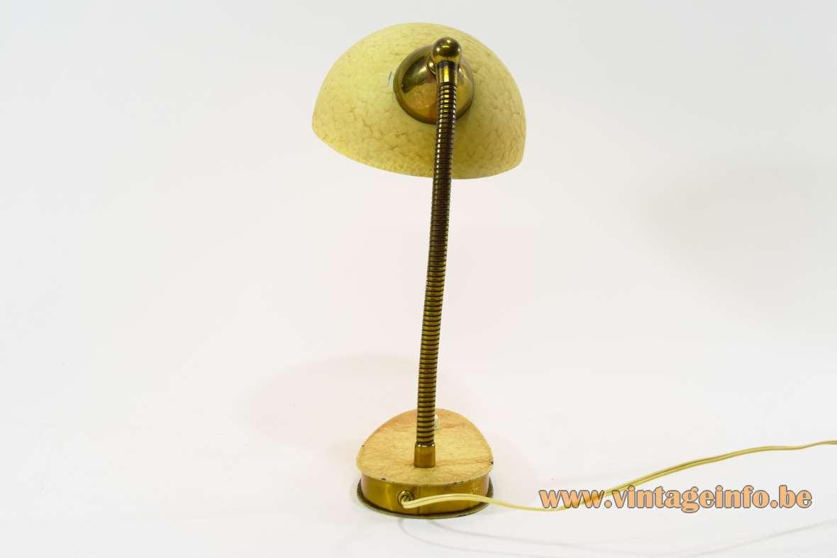 1950s vanilla/cream wrinkle paint desk lamp oval base brass gooseneck round lampshade Massive Belgium 1960s MCM