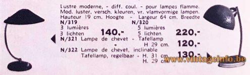 1950s Cream Wrinkle Paint Desk Lamp - 1960-1961 Welvaart/Bien-Être magazine publicity