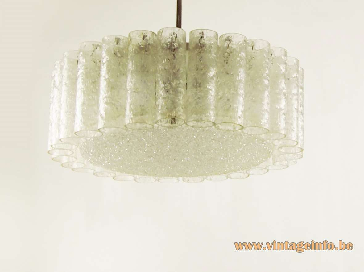 1960s DORIA glass tubes chandelier big embossed glass disc chrome rod iron frame 1960s 1970s Germany