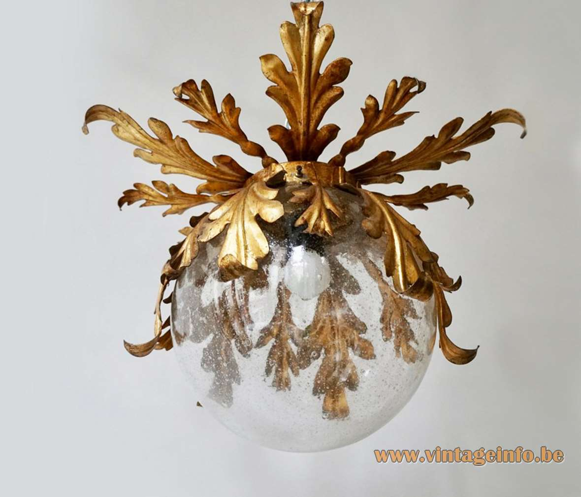 "Banci Firenze globe flush mount clear glass & gold ""antique"" painted metal oak leaves and ferns"