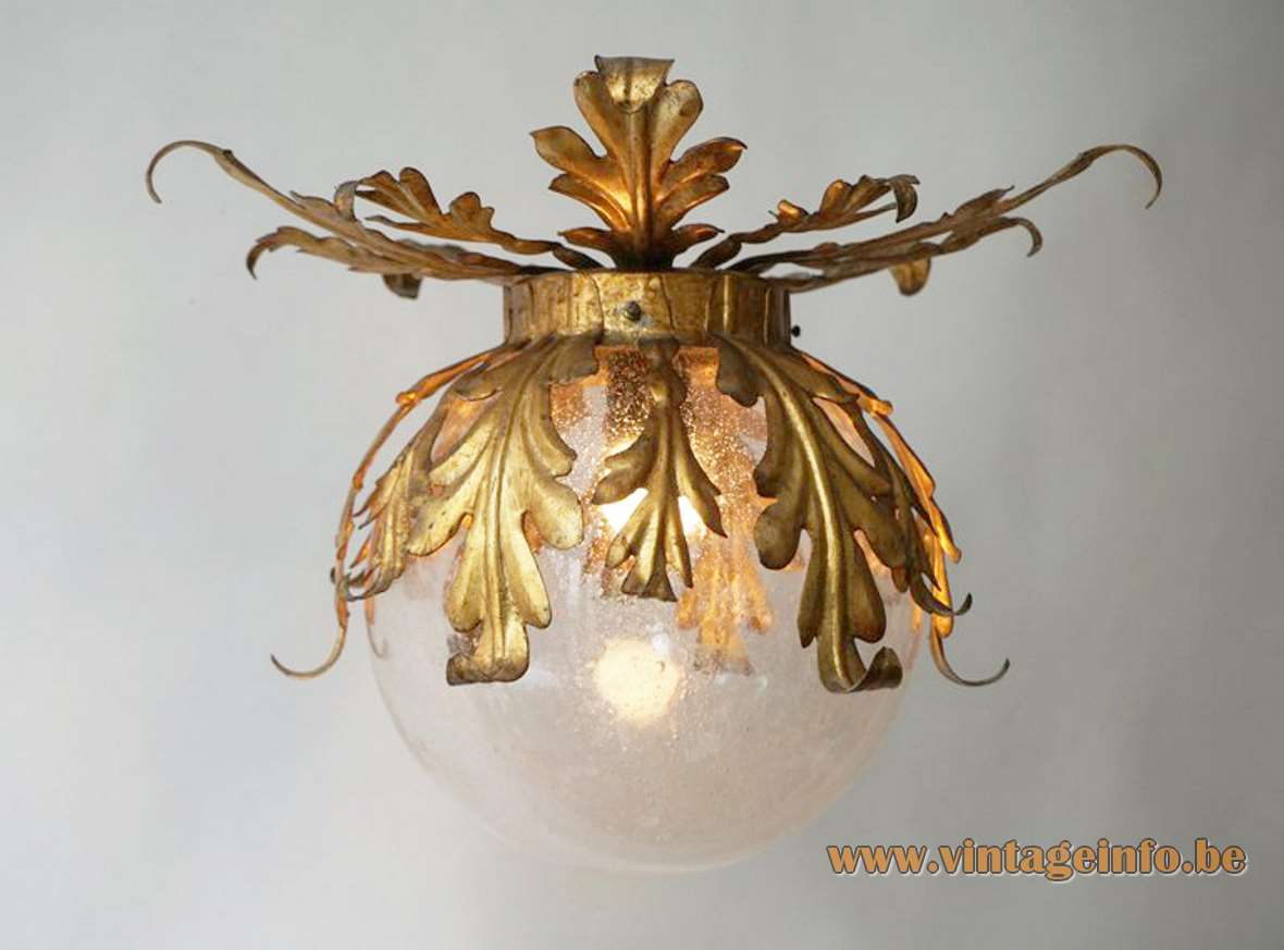 Banci Firenze globe flush mount clear glass lampshade gold painted metal oak leaves & ferns Florence Italy