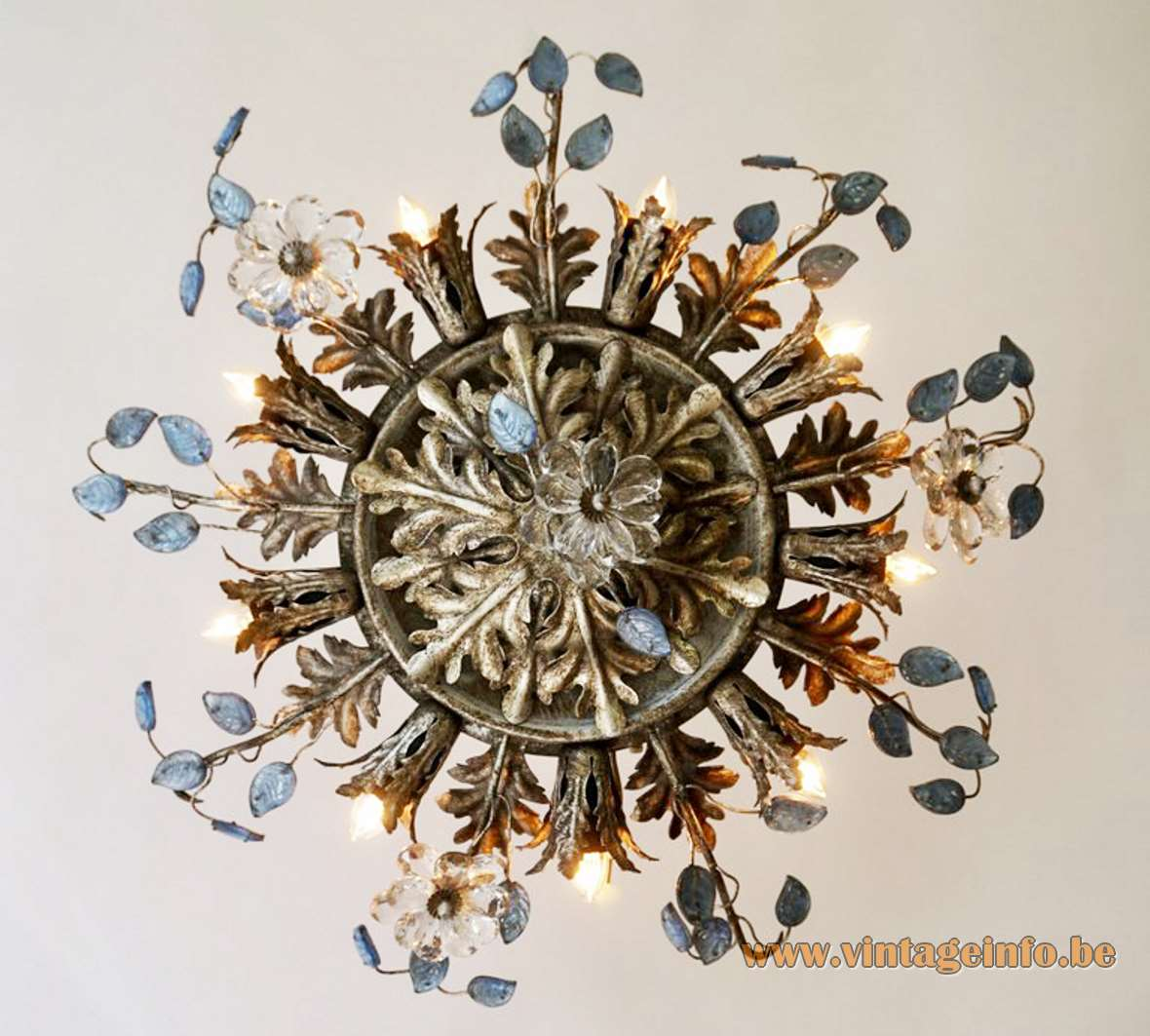 Banci flowers and oak leaves flush mount Firenze gold antique superclassic blue glass leaves sunburst E14 bulbs