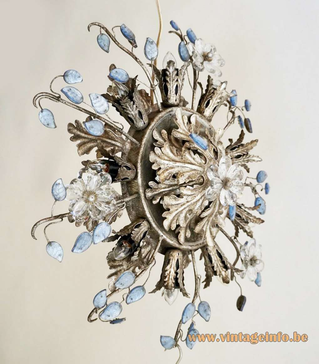 Banci flowers and oak leaves flush mount Firenze gold antique superclassic blue glass leaves sunburst E14 bulbs