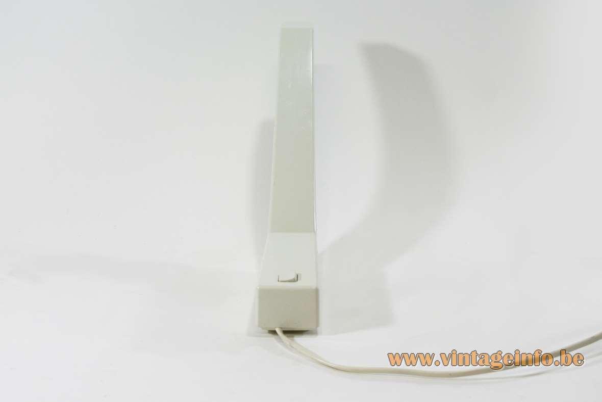 Indoor deLamp desk lamp design: Rob Wermenbol 1983 white plastic geometric G23 socket 1980s Amsterdam