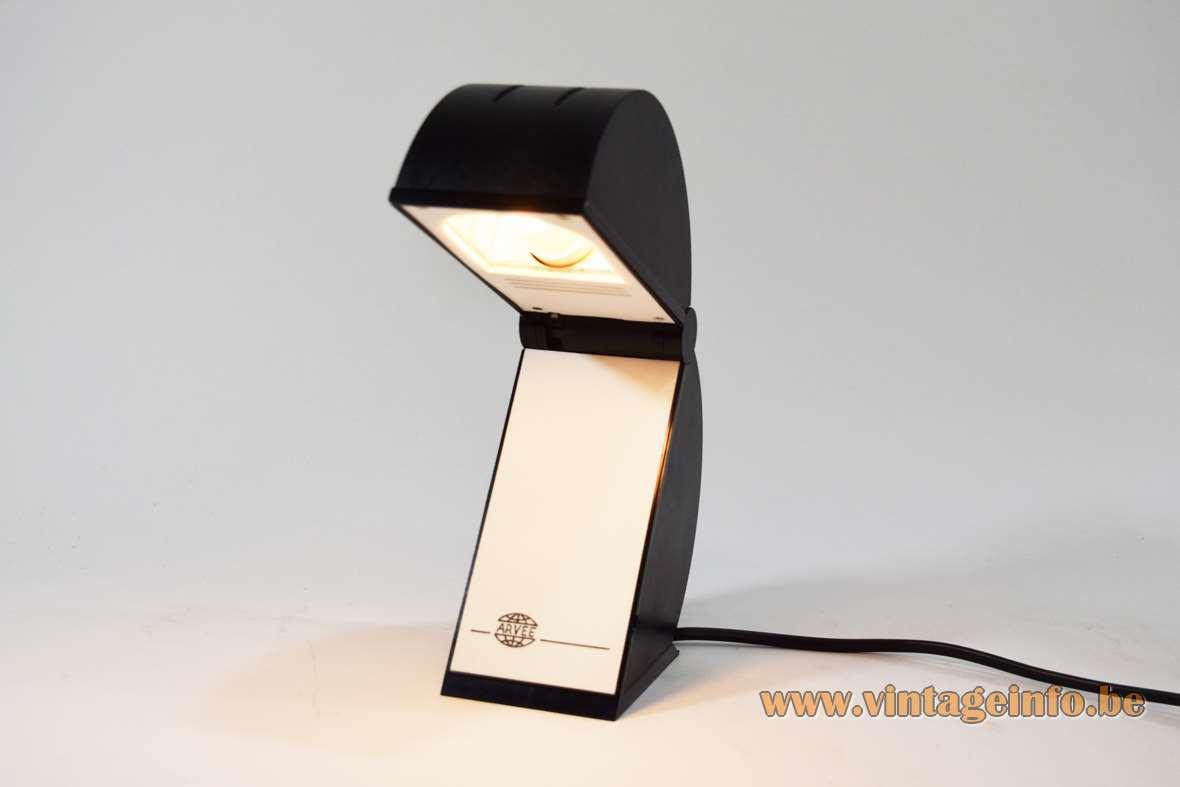 Mario Bertorelle Disco table lamp black plastic foldable Pacman style 1980s 1990s JM RDM Massanzago Italy