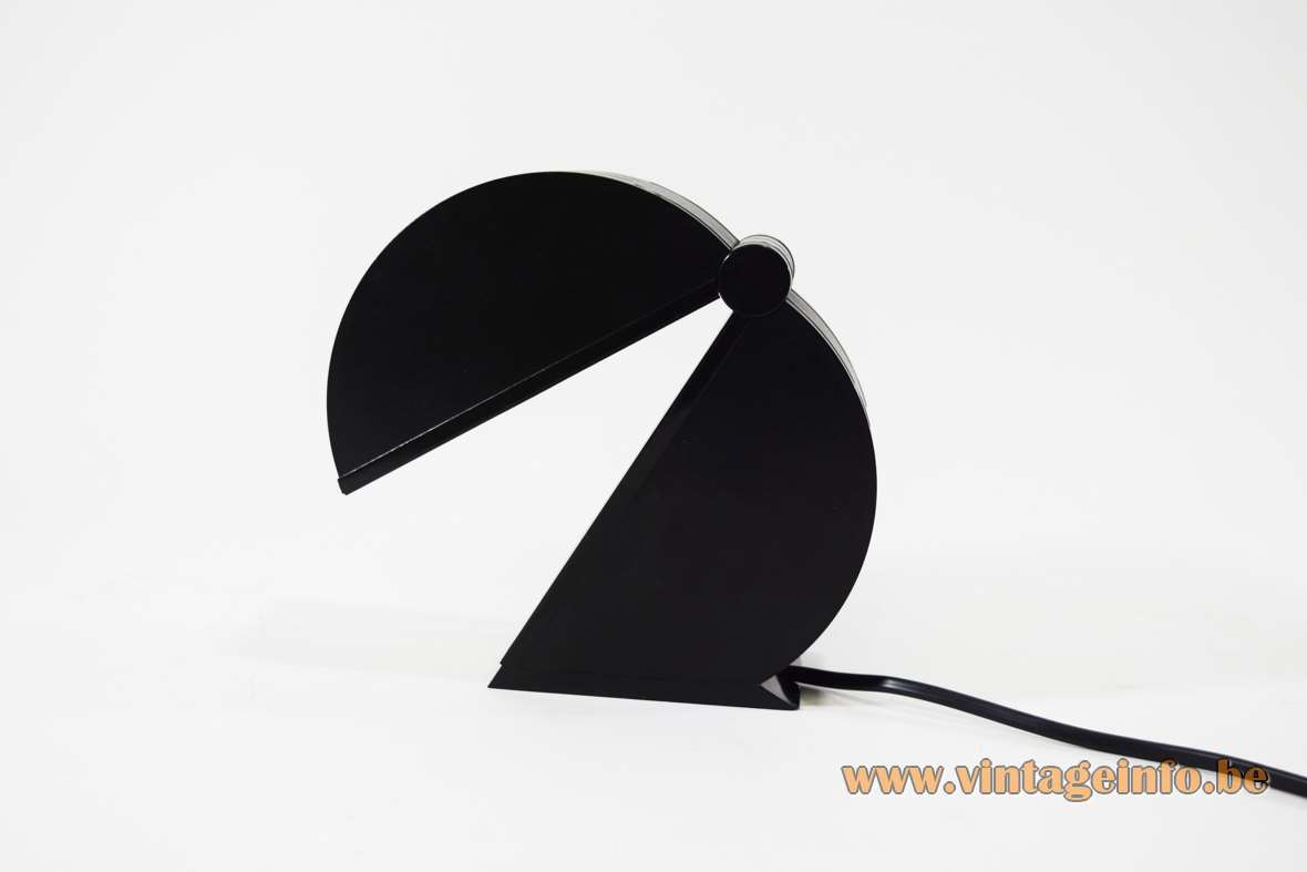 Mario Bertorelle Disco table lamp round black foldable plastic Pacman JM RDM Massanzago Italy 1980s 1990s
