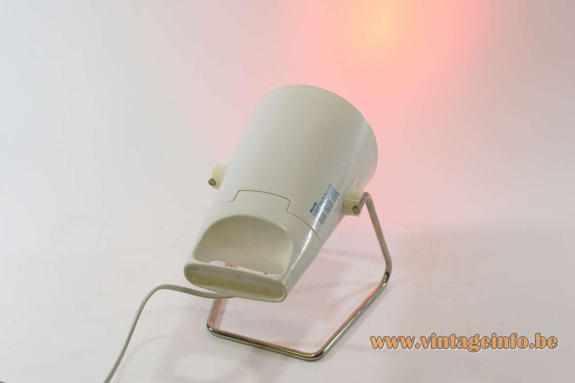Philips Infraphil HP3609/S infrared heat light white plastic chrome handle 1970s 1980s MCM