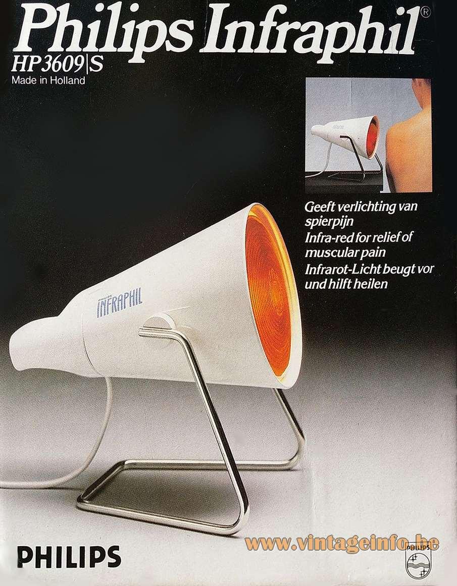 Philips Infraphil HP3609/S infrared heat light white plastic chrome handle 1970s 1980s MCM Box publicity