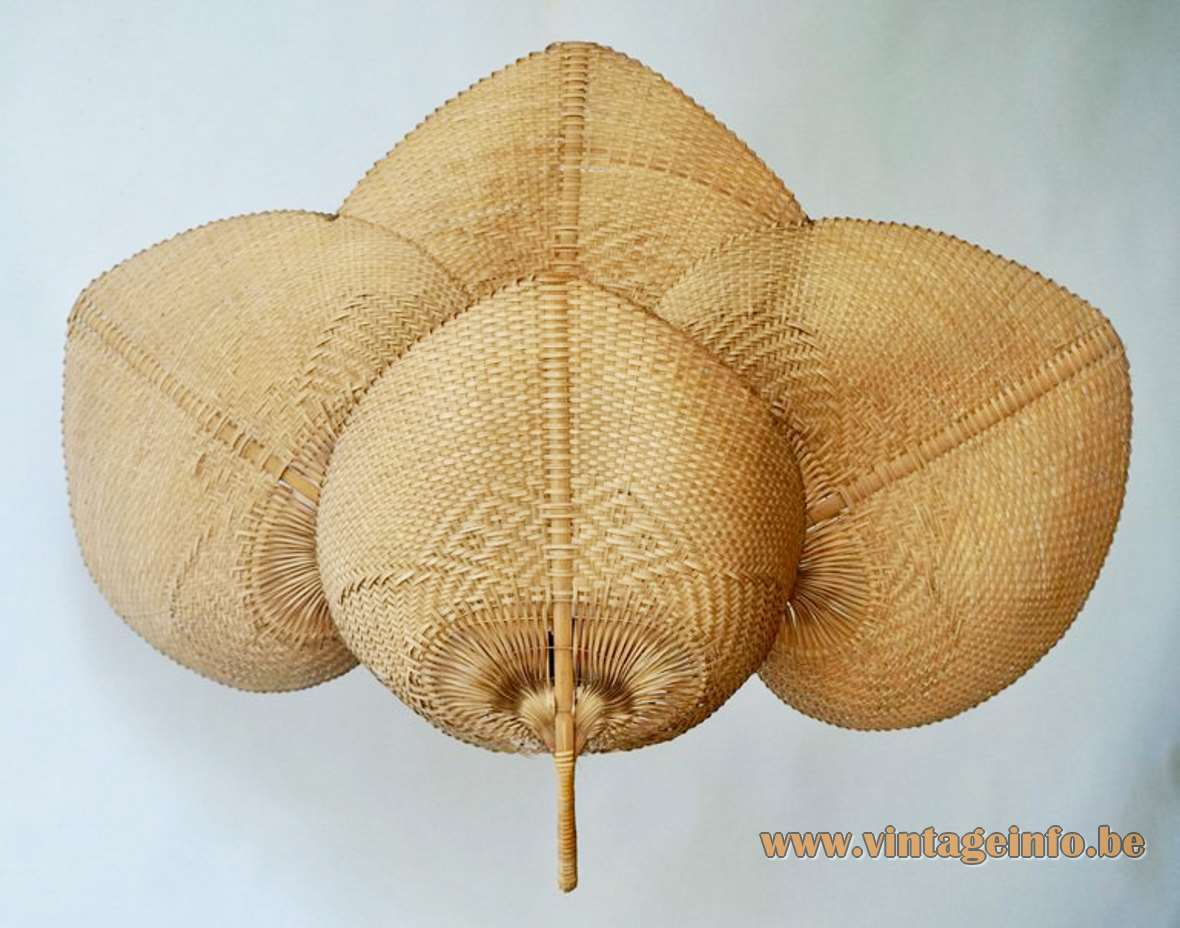 Quadruple Uchiwa Wall Lamp rice paper bamboo wicker Ingo Maurer style 1970s 1980s metal frame