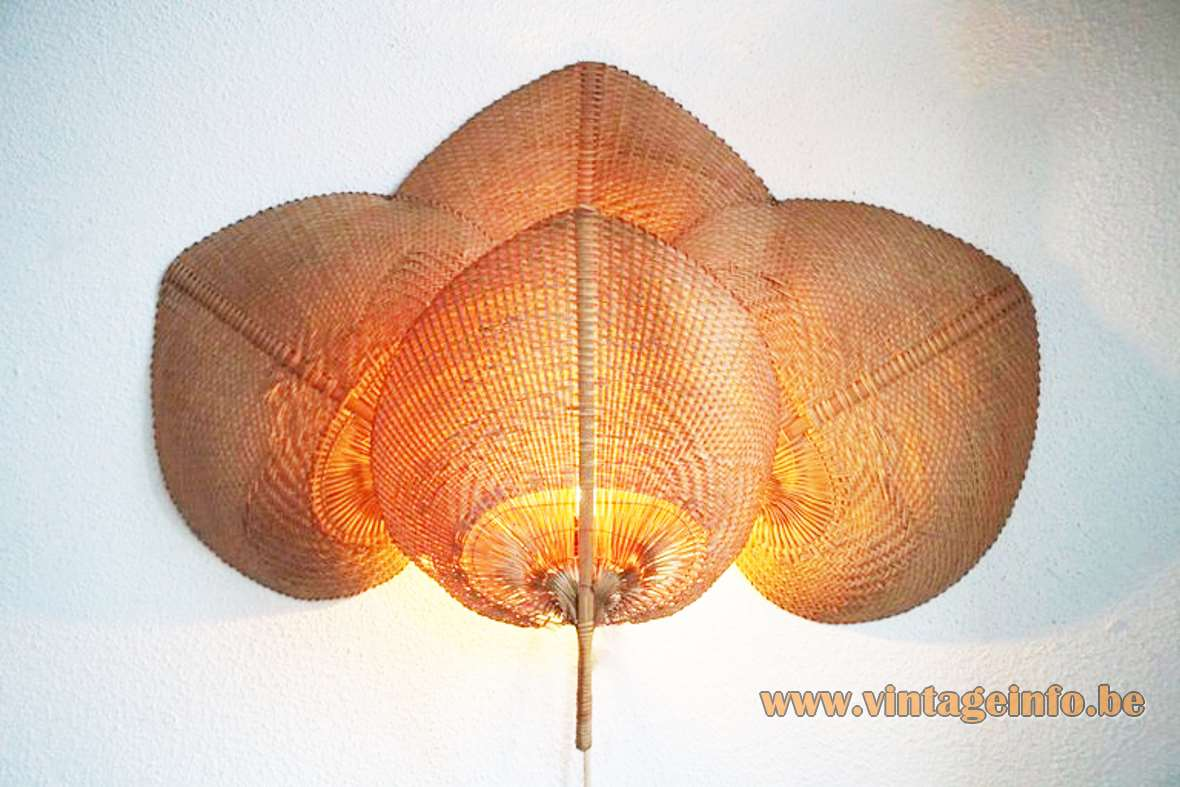 Quadruple Uchiwa Wall Lamp rice paper bamboo wicker Ingo Maurer style 1970s 1980s metal frame