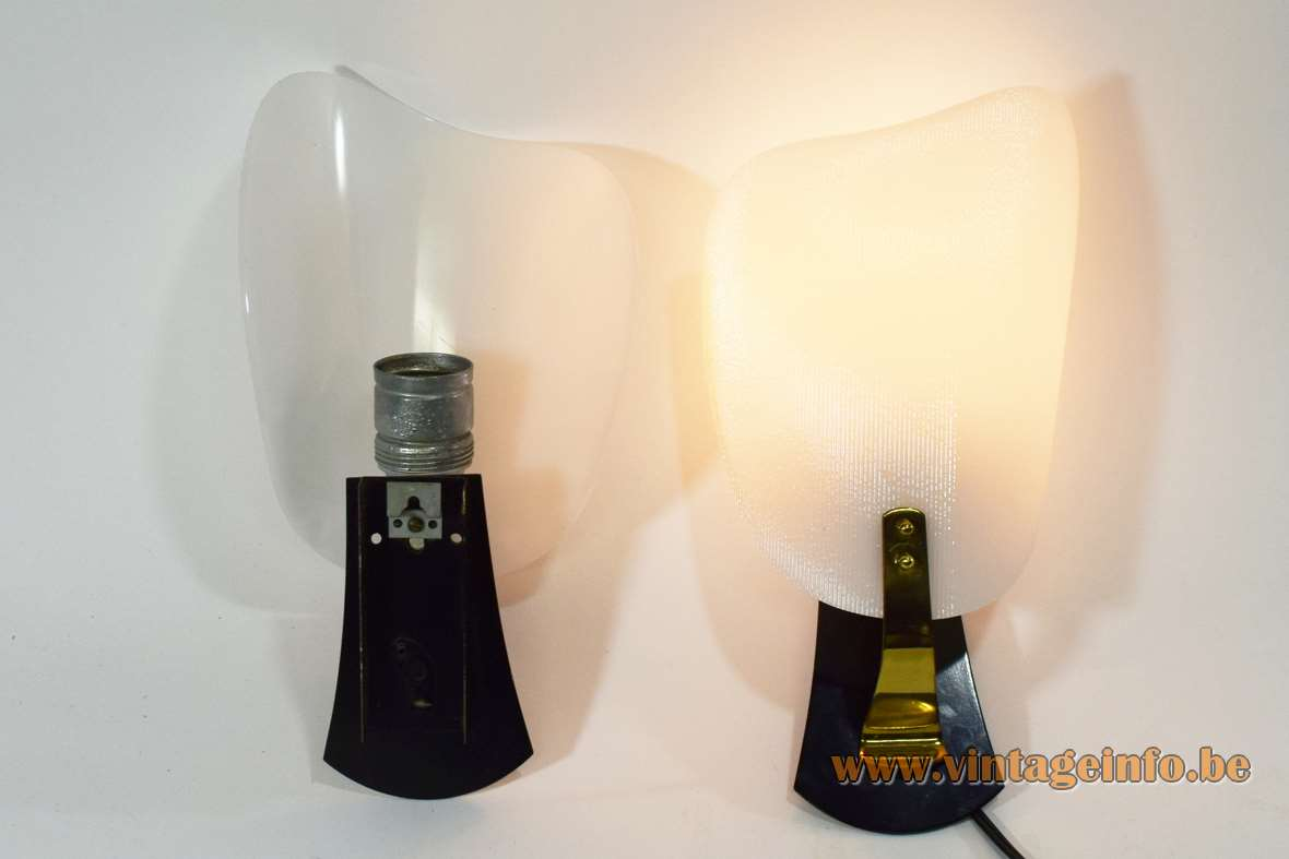 RZB Leuchten acrylic wall lamps ribbed white curved lampshade black mount brass slat 1950s 1960s Germany