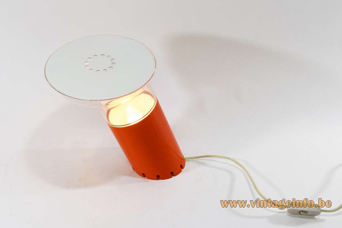 Rodolfo Bonetto Nitia table lamp Design House Harvey Guzzini 1972 acrylic E14 socket 1970s MCM Perspex