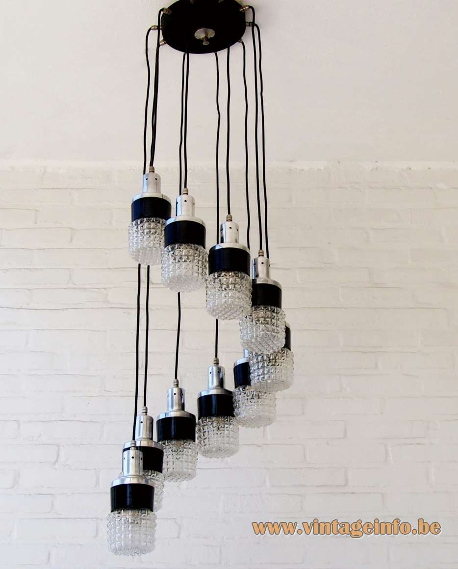 10 lights cascade pendant chandelier made of aluminium Bakelite and embossed glass 1950s 1960s MCM Germany