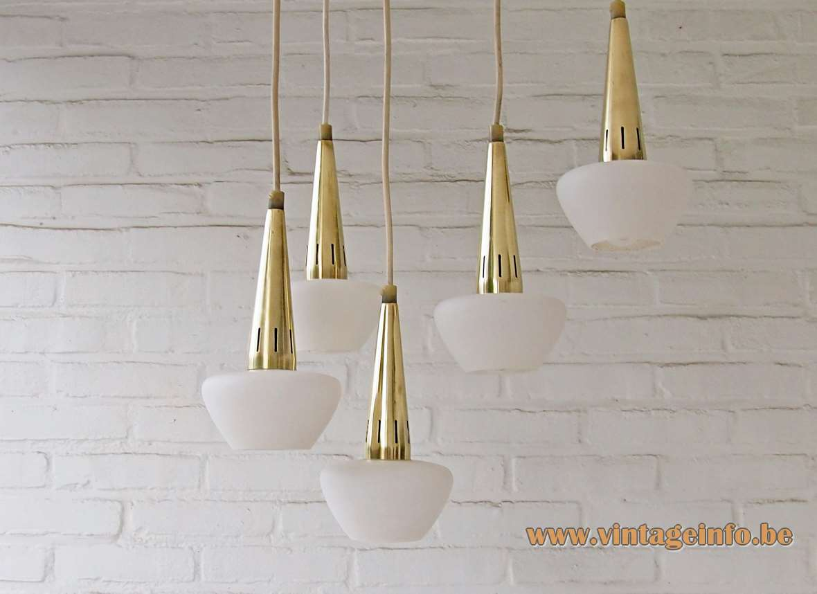 1960s cascading chandelier with five opal glass lamps, brass, black canopy E14 sockets 1950s MCM