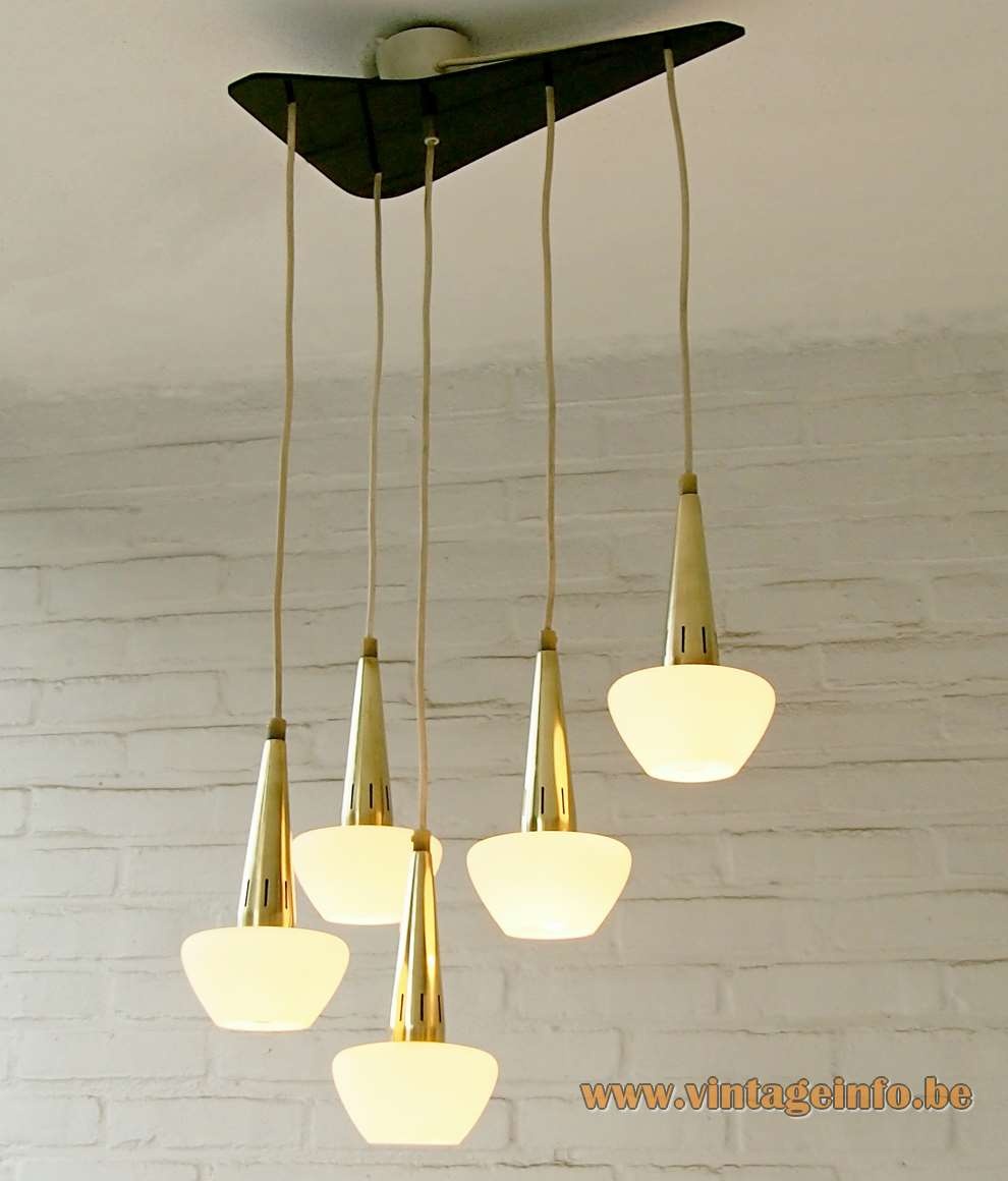 1960s cascading pendant chandelier 5 opal glass lampshades conical brass tubes black canopy RZB Leuchten Germany