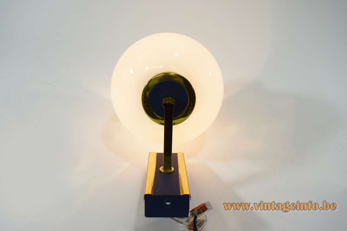 1960s tulip wall lamp white opal glass lampshade rectangular brass blue mount E14 socket Philips Netherlands