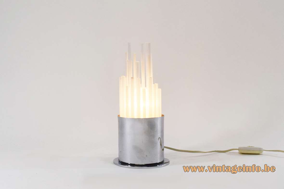 1970s glass tubes table lamp chrome round base 32 white and clear glass tubes Italy 1960s 1970s MCM