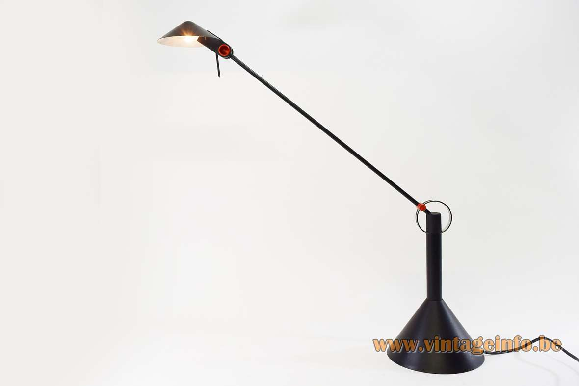 1980s Brillantleuchten AG table lamp Memphis style Heico Linke Plewa Design halogen black conical round base