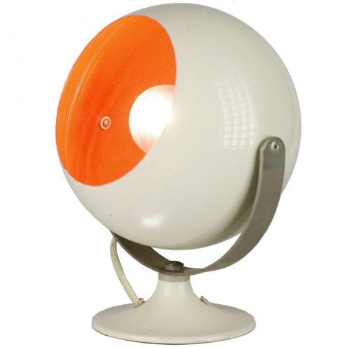 ANVIA 1980s globe table lamp round base chrome articulating rod white and orange 1970s E14 socket The Netherlands