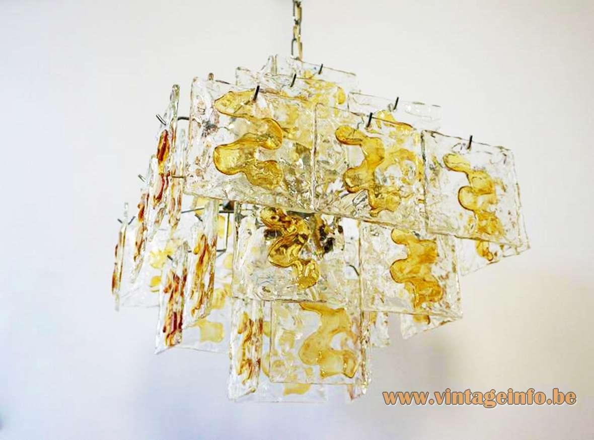 V Mazzega square discs chandelier design: Carlo Nason amber Murano glass metal wire frame 1960s 1970s Italy