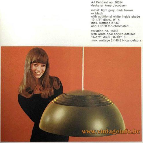 Arne Jacobsen Royal pendant lamp 1957 Design: Arne Jacobsen Louis Poulsen 1960s catalogue Denmark