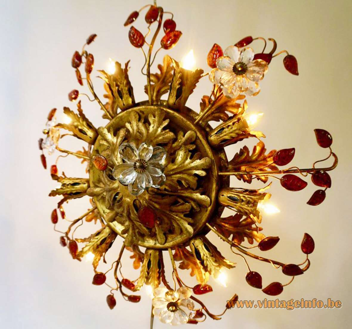 Banci Firenze oak leaves & flowers flush mount gold painted metal brass superclassic amber glass sunburst Italy