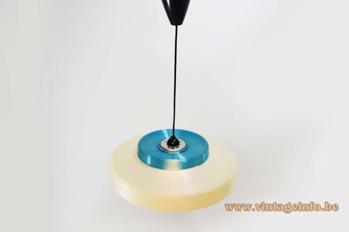 Blue & white Rotaflex pendant lamp John Sylvia Reid early plastic Atelier Recherche Plastique 1950s 1960s MCM