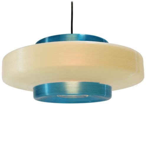 Blue & white Rotaflex pendant lamp design: John & Sylvia Reid iridescent plastic two-tone lampshade 1950s 1960s