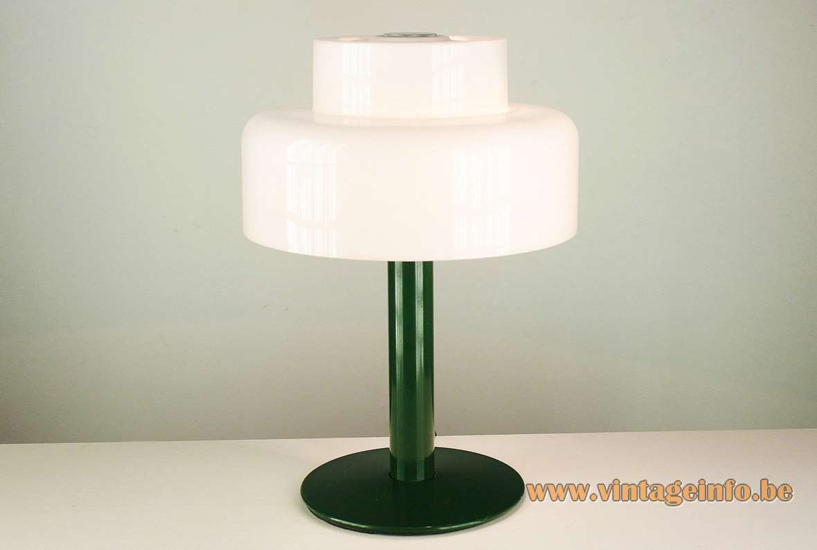 Codialpo white acrylic table lamp, green round metal base, Barcelona Spain, 1970s, 2 E27 sockets