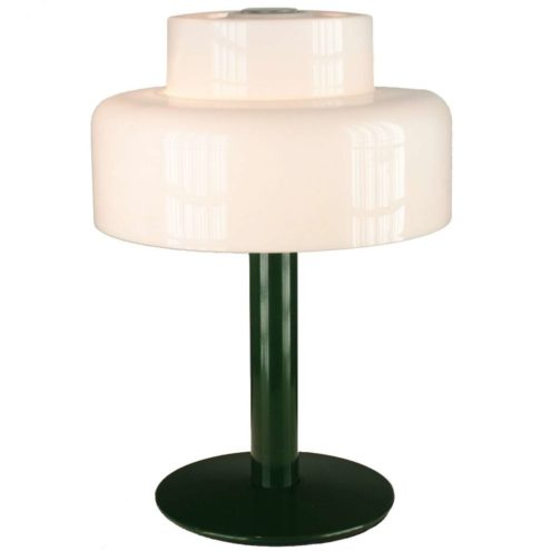 Codialpo white acrylic table lamp, green round metal base, Barcelona Spain, 1970s, 2 E27 sockets