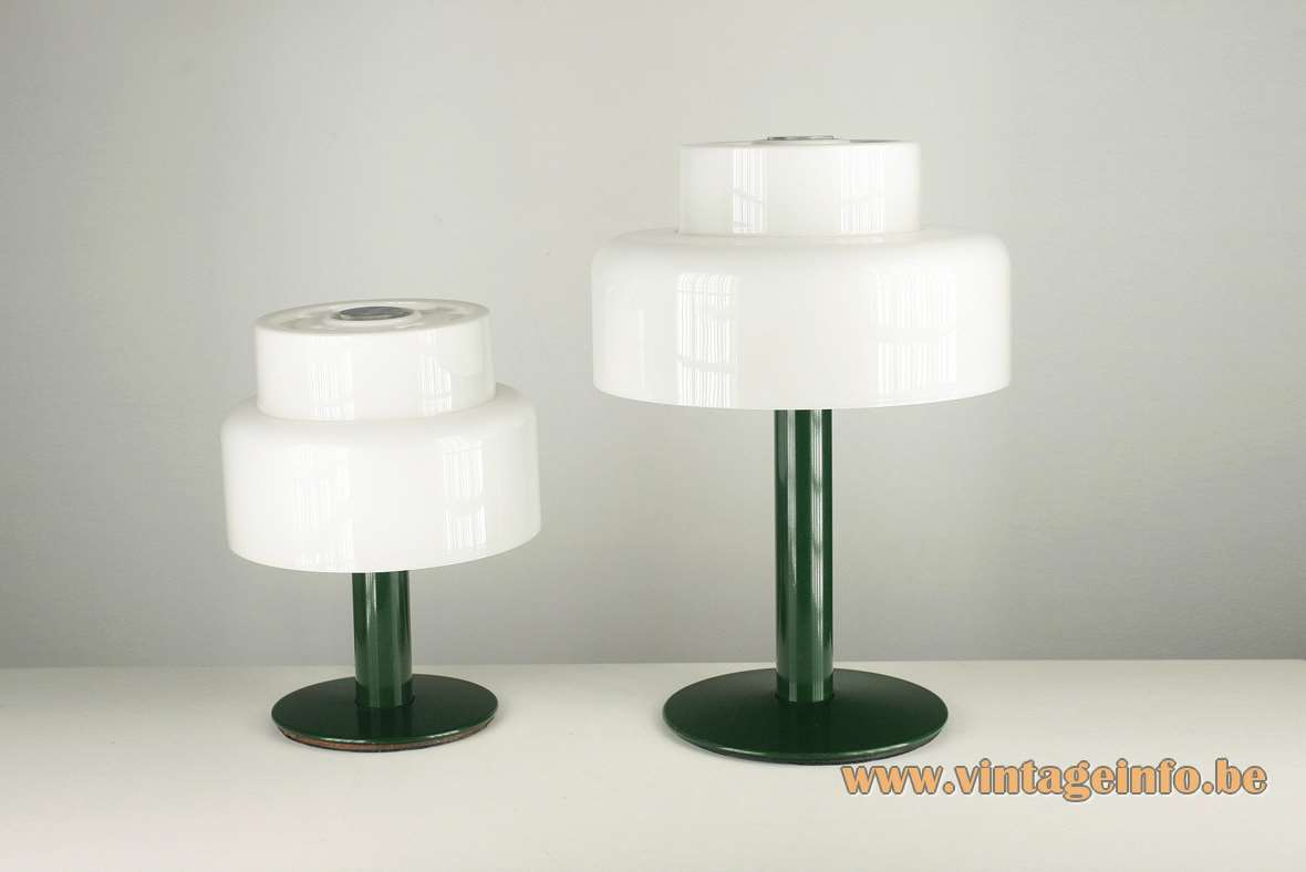 Codialpo white acrylic table lamps, green round metal base, Barcelona Spain, 1970s, 2 E27 sockets