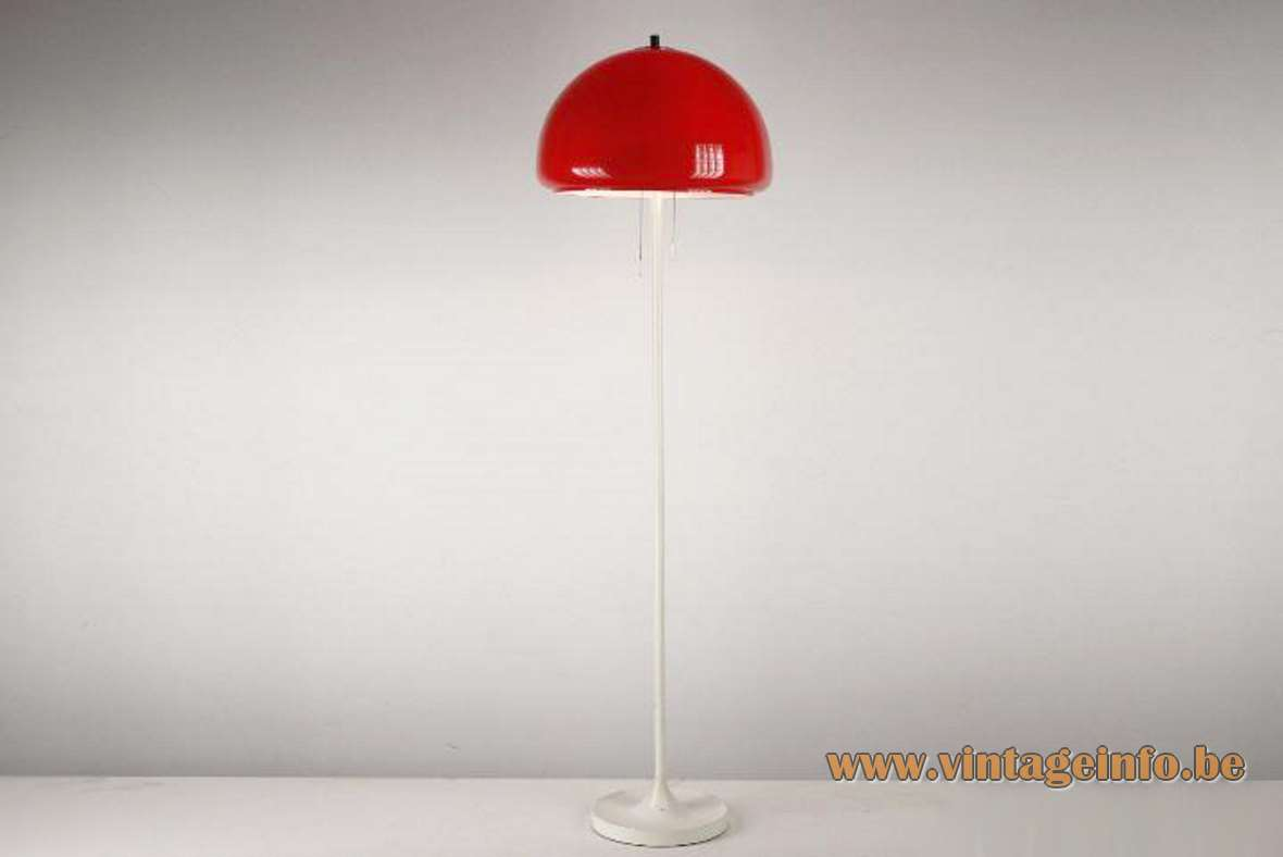 Codialpo red acrylic mushroom floor lamp, white base and rod, 2 E27 sockets, Barcelona Spain, 1970s 1960s MCM