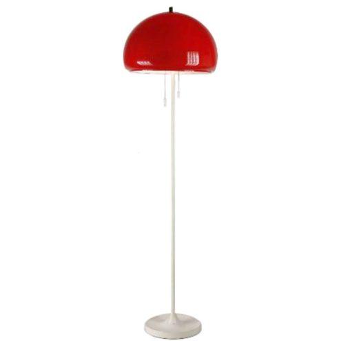 Codialpo red acrylic mushroom floor lamp, white base and rod, 2 E27 sockets, Barcelona Spain, 1970s 1960s MCM