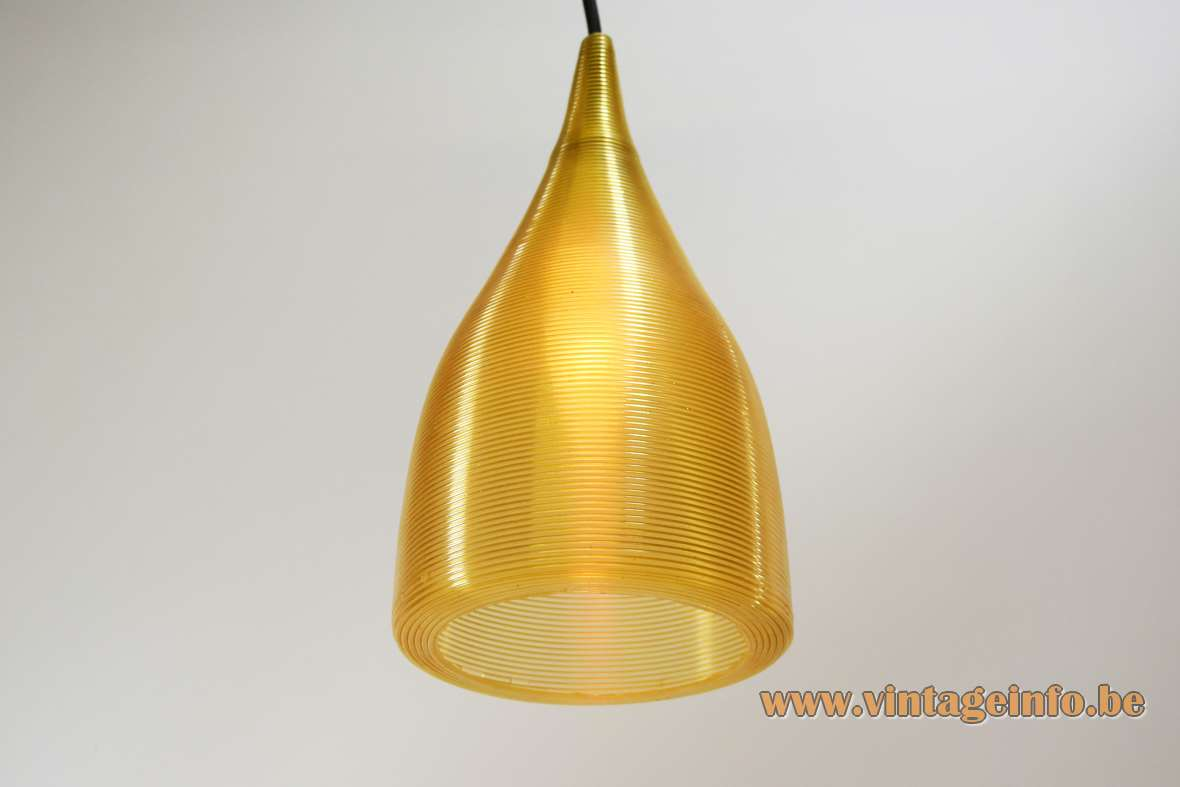 Conical Rotaflex pendant lamp design: John & Sylvia Reid yellow Rhodoid celluloid plastic lampshade 1950s 1960s