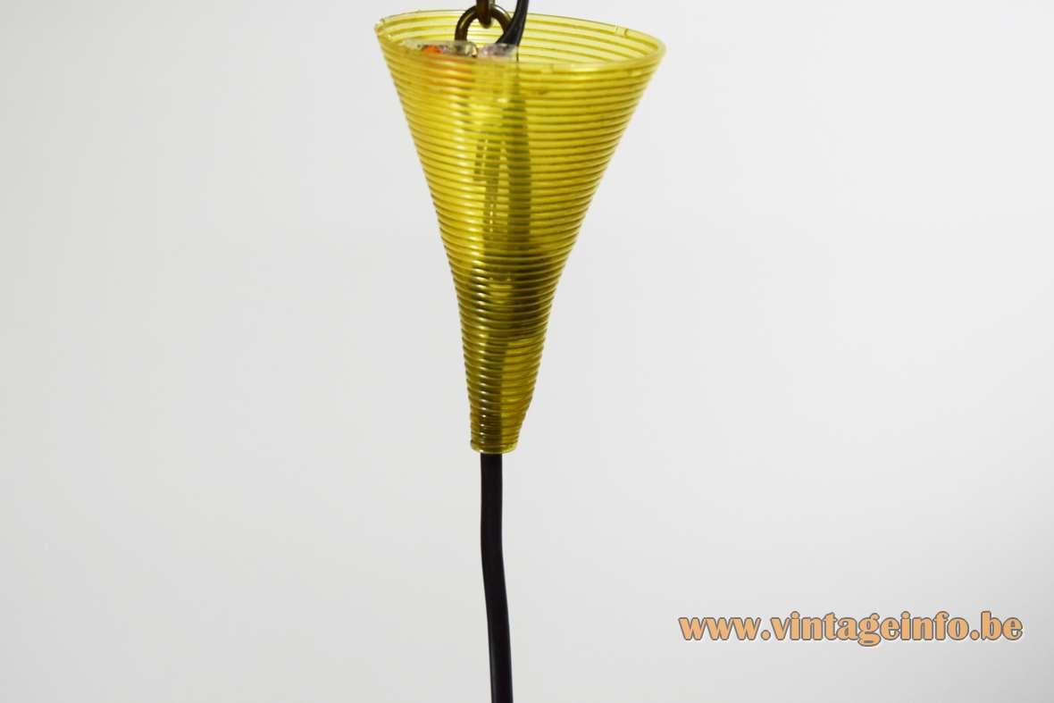 Conical Rotaflex pendant lamp design: John & Sylvia Reid yellow Rhodoid celluloid plastic lampshade 1950s 1960s canopy