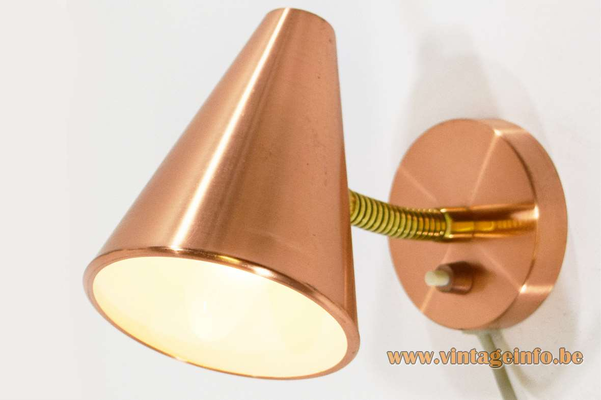 Copper conical wall lamp 1960s 1970s brass gooseneck round wall mount Germany C MCM
