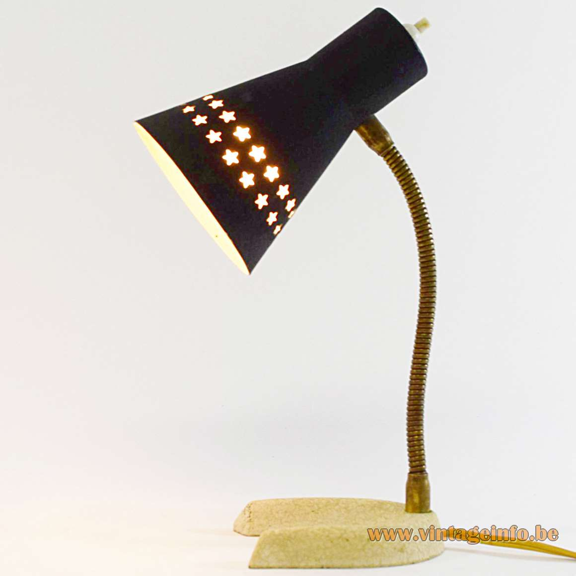 Perforated five-pointed stars desk lamp 1950s 1960s brass gooseneck aluminium lampshade wrinklepaint MCM Italy