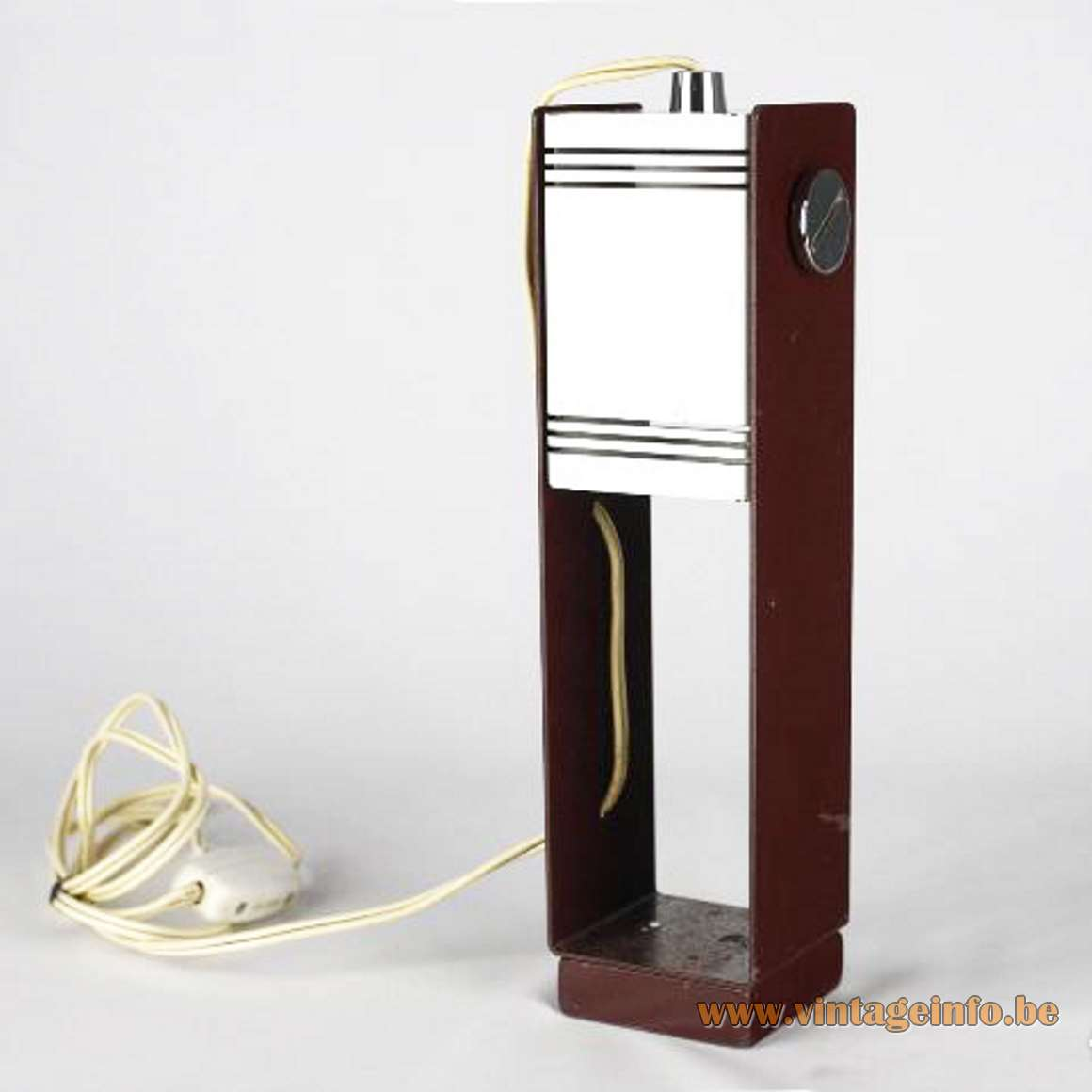 Estiluz geometric table lamp in brown and white metal adjustable E27 socket 1970s Spain